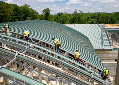 Series 300 structural metal roof spans open framing on Dempsey WWTP